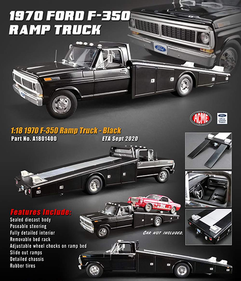 1:18 1970 Ford F-350 Ramp Truck (Black)