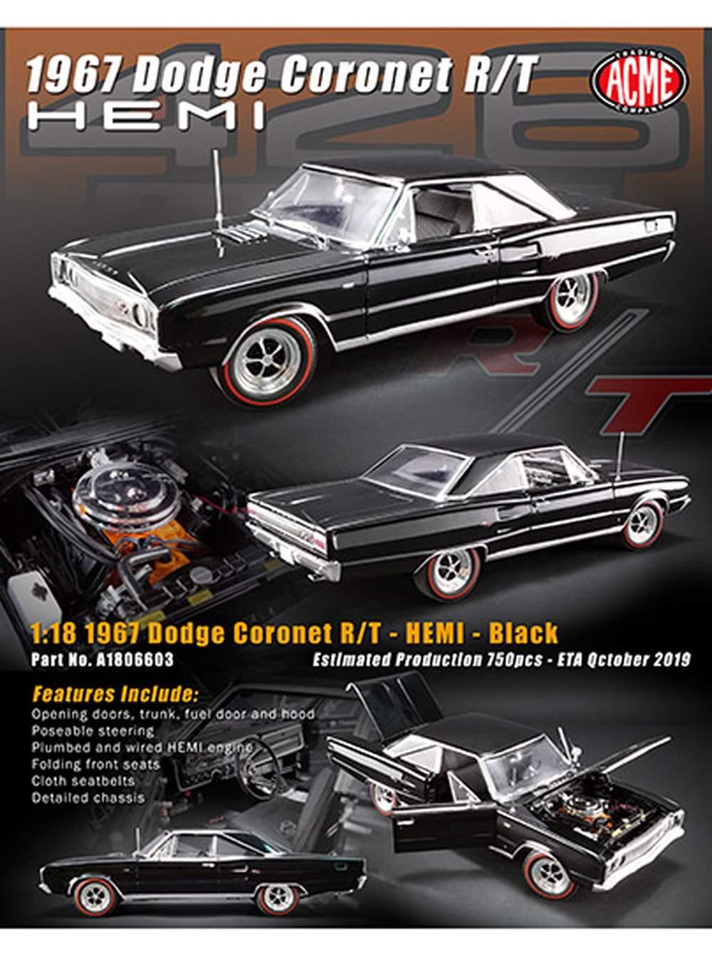 1:18 1967 Dodge Coronet R/T (Black on Black)