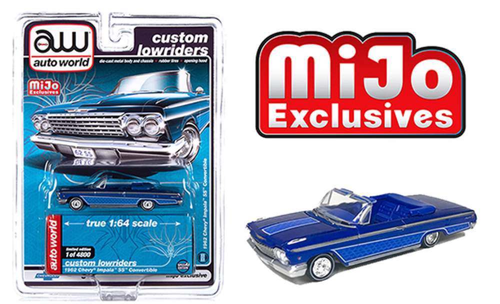 Auto World 1:64 Custom Lowriders 1962 Chevy Impala Convertible Purple