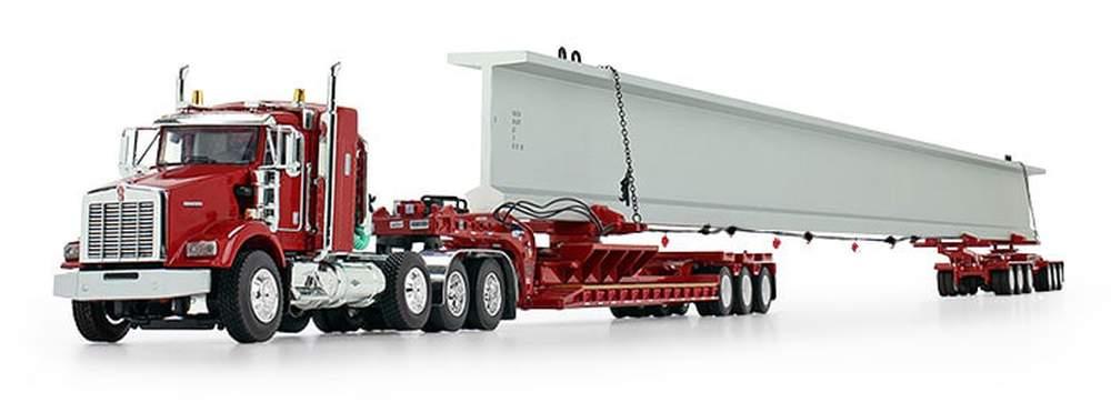 Kenworth T800 Sleeper w/Fontaine Lowboy, Elk River 6-Axle Hydra-Steer Trailer & Beam Load (Red)