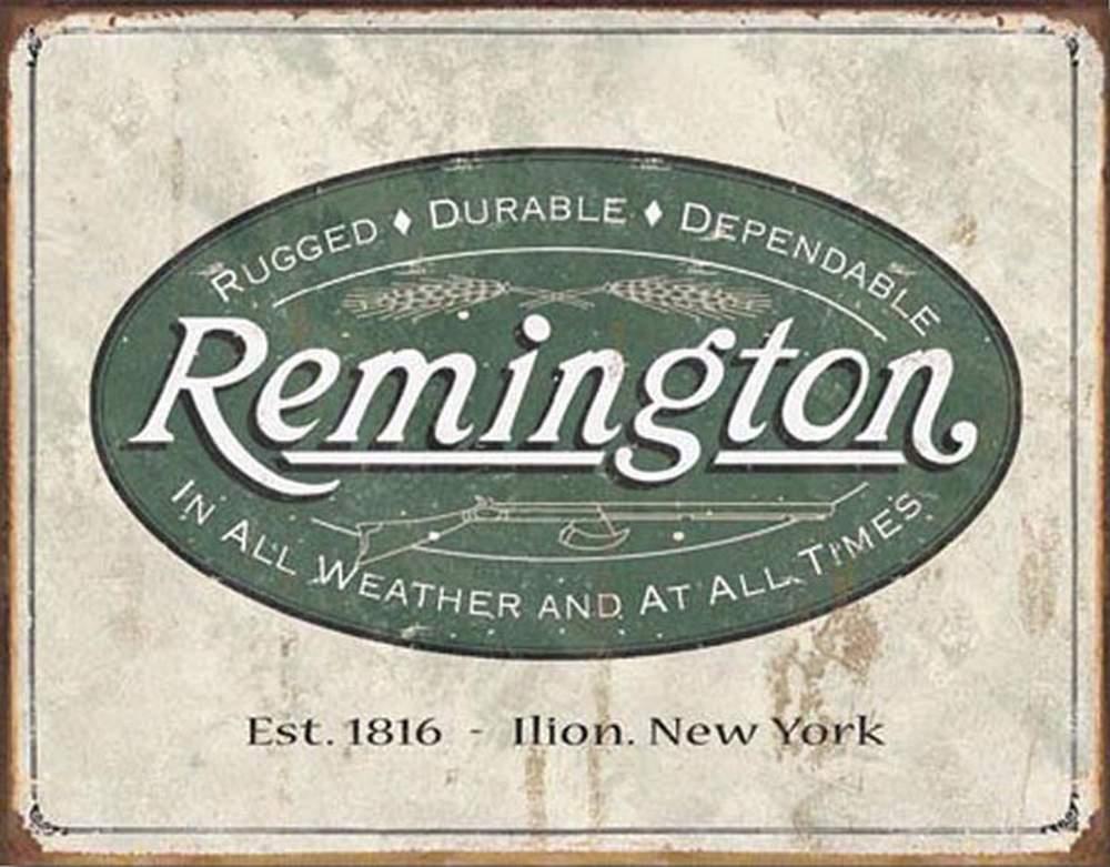 Tin Sign - Remington - Weathered Logo (Weathered)