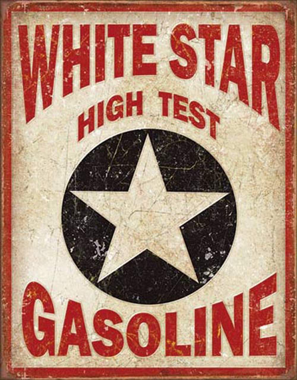 Tin Sign - White Star High Test Gasoline