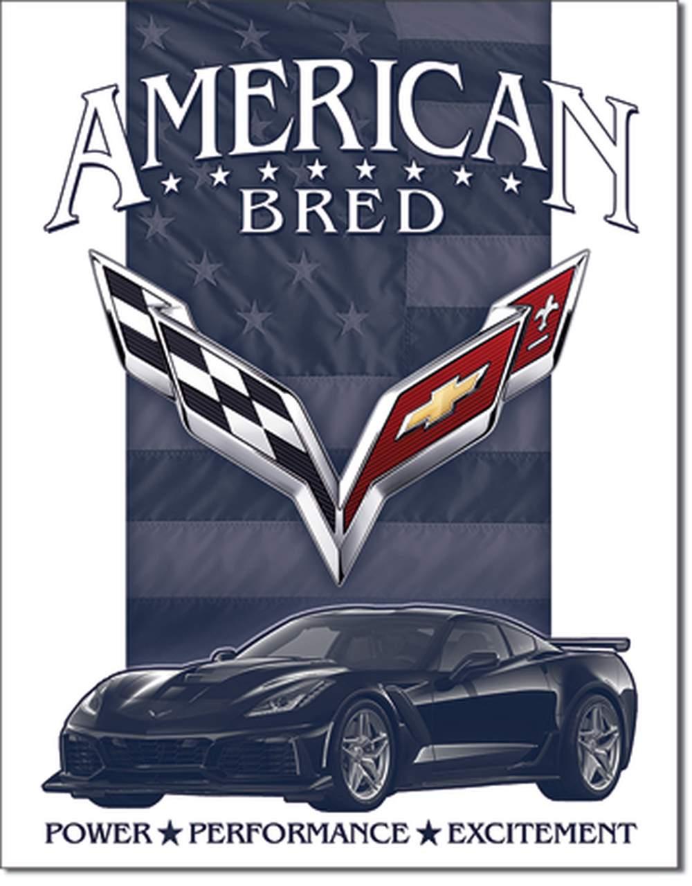 Tin Sign - Corvette - American Bred