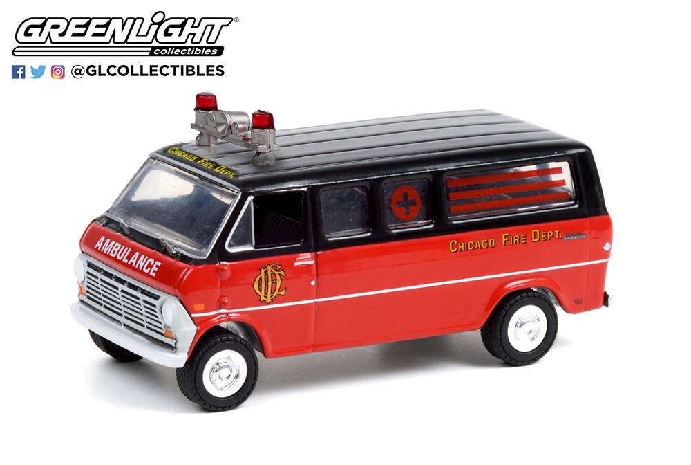 "1:64 1969 Ford Club Wagon Ambulance ""Chicago Fire Department"""