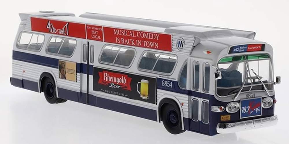 "1:43 GM TDH-5303 New Look Transit Bus ""MTA - New York - JFK"" w/Busorama Advertising 'Bat Wings')"