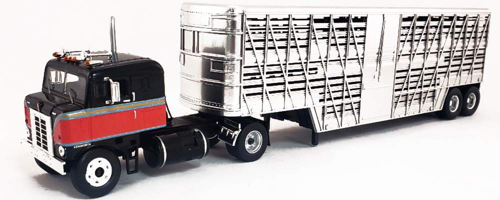 1:43 1950 Kenworth COE Bullnose Tractor (Black/Red) w/Livestock Trailer