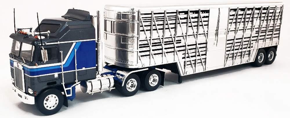 1:43 1976 Kenworth K100 COE Aerodyne Tractor (Gray/Blue) w/Livestock Trailer