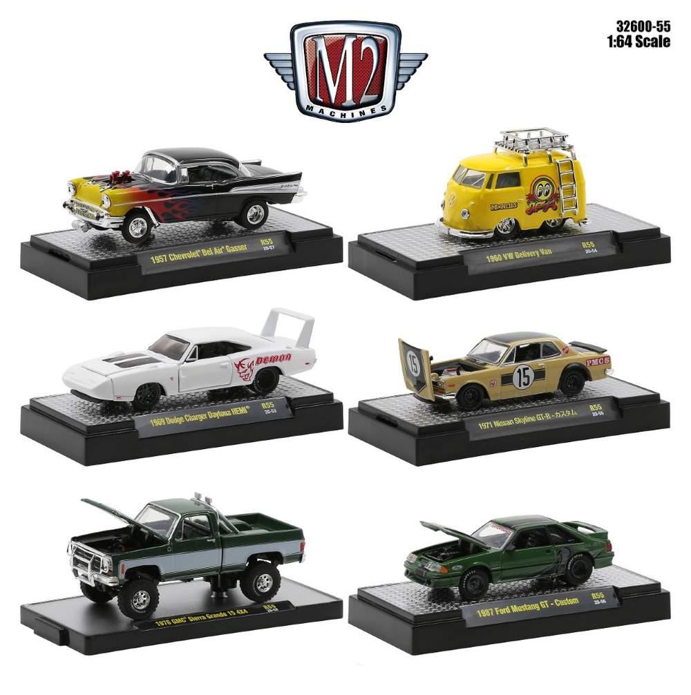 1:64 Auto-Trucks/Gassers/Auto-Shows/Detroit-Muscle/VW Release 55 (Set of 6)