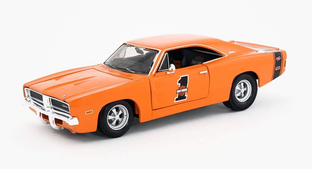 Maisto 1:24 Harley-Davidson Cust 1969 Dodge Charger R//T DIE-CAST ORANGE 32196