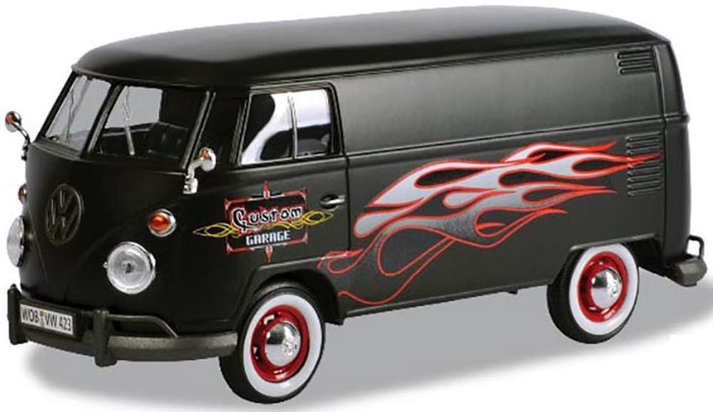 1:24 Platinum Collection - Volkswagen Type 2 (T1) Delivery Van (Matte Black w/Flames)