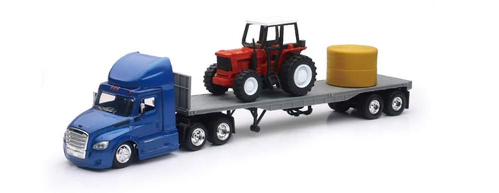 1:43 Freightliner Cascadia w/Flatbed Trailer & Farm Tractor