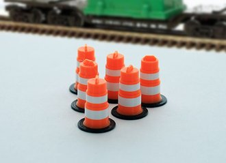 1:43 Traffic Barrels - 6-Pack - Orange/White