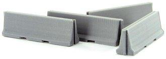 1:50 Traffic / Jersey Barriers - 4-Pack Interlocking - Concrete Grey