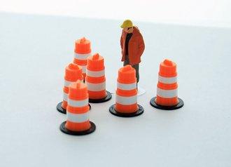 1:50 Traffic Barrels - 6-Pack - Orange/White
