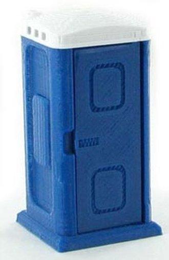 1:50 Porta-Potty w/Opening Door - Blue/White