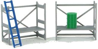 1:50 Scaffolding Set (Gray) w/Barrel & Ladder