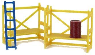 1:50 Scaffolding Set (Yellow) w/Barrel & Ladder