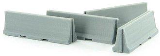 1:64 Traffic / Jersey Barriers - 4-Pack Interlocking - Concrete Gray