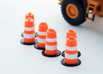 1:64 Traffic Barrels - 6-Pack - Orange/White