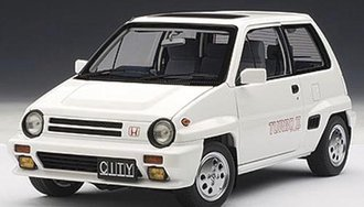 Honda City Turbo II, White with Motocompo in Red