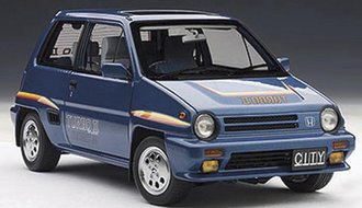 Honda City Turbo II, Blue with Stripes, with Motocompo in White