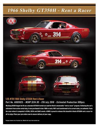 "1:18 1966 Shelby GT350H ""Rent A Racer"" #314 (Red w/Gold Stripe)"