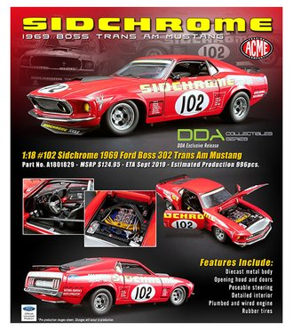 "1:18 1969 Ford Boss 302 Trans Am Mustang ""#102 Sidchrome"""