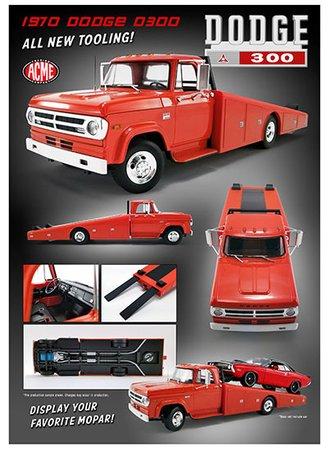 1:18 1970 Dodge D300 Ramp Truck (Burnt Orange)