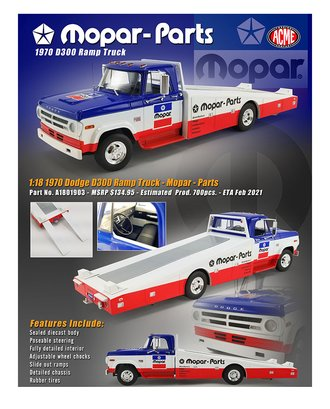 "1:18 1970 Dodge D-300 Ramp Truck ""MOPAR Parts"""