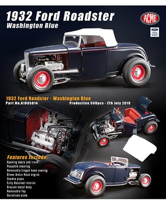 1:18 1932 Ford Roadster (Washington Blue)