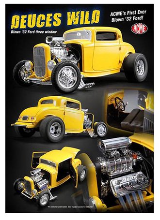 1:18 Blown '32 Ford Three Window Coupe (Yellow)