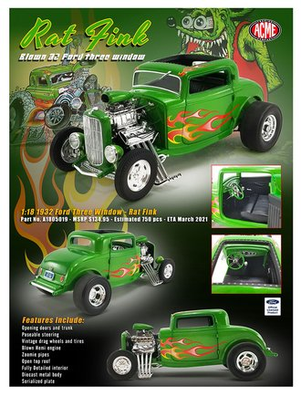 "1:18 1932 Ford Hot Rod ""Rat Fink"" (Green w/Flames)"