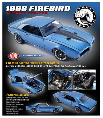 "1:18 1968 Pontiac Firebird ""Street Fighter"" (Lucerne Blue)"