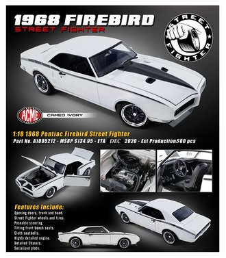 "1:18 1968 Pontiac Firebird ""Street Fighter"" (Cameo Ivory)"