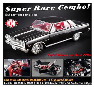 1:18 1965 Chevrolet Chevelle Z16 Hardtop (Black/Red Interior)