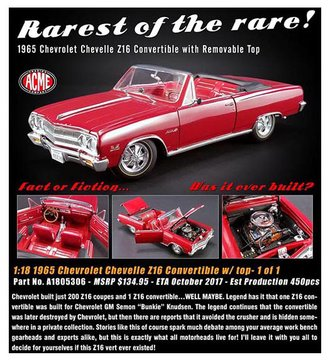 1:18 1965 Chevrolet Chevelle Z16 Convertible (w/Removeable Top) (Red)