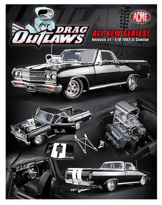 "1:18 1965 Chevrolet El Camino ""Drag Outlaws"" (Black w/ White Stripes)"