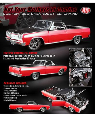 "1:18 Custom 1965 Chevrolet El Camino Pickup ""Street Fighter"" (Red/Black)"