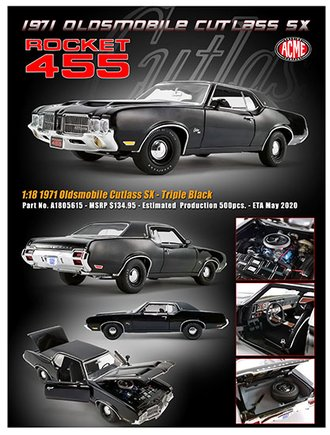 1:18 1971 Oldsmobile Cutlass SX (Triple Black)