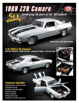 1:18 1969 Chevrolet Camaro Z/28 (Cortez Silver w/Black Stripes)