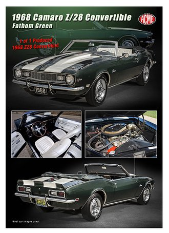 1:18 1968 Camaro Z/28 Open Convertible (Fathom Green)
