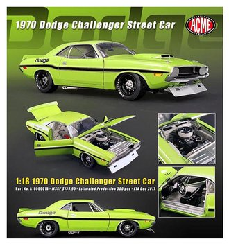 1:18 Dodge Challenger Trans Am Street Version (Lime Green w/Black Stripes)