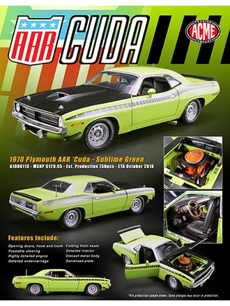 1:18 1970 Plymouth AAR Cuda (Sublime Green)