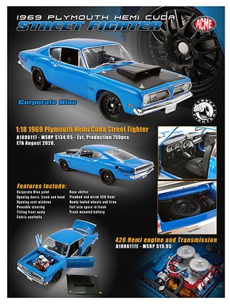 1:18 1969 Plymouth Barracuda Street Fighter (Corporate Blue)