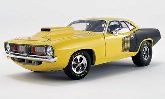 1:18 1972 Plymouth Cuda Drag Car (Custom Yellow w/HEMI Billboards)
