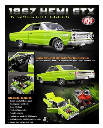 1:18 1967 Plymouth Hemi GTX (Limelight Green)