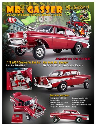 "1:18 1957 Chevrolet Bel Air Gasser ""Rat Fink"""