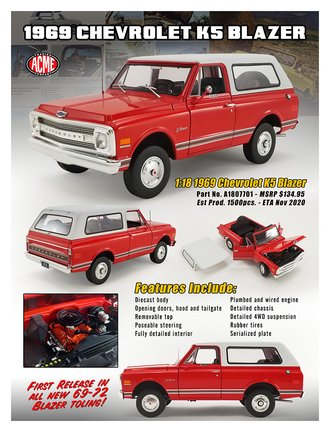 1:18 1969 Chevrolet K-5 Blazer (Red/White)