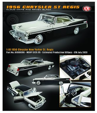 1:18 1956 Chrysler New Yorker St. Regis (Black/White)