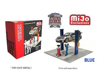 American Diorama 1:64 Figures - 2-Post Lift (Blue) w/Oil Drainer & Mechanic